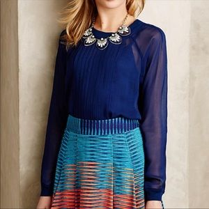 NWT Anthropologie Anisy Sheer Pleated Front Blouse